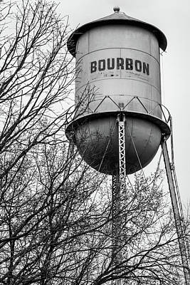 Photograph - Bourbon Tower - Vintage Whiskey Water Tower - Black And White - Missouri by Gregory Ballos