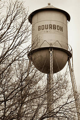 Photograph - Bourbon Tower - Vintage Whiskey Water Tower - Missouri - Sepia by Gregory Ballos