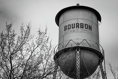 Photograph - Bourbon Water Tower - Black And White - Vintage Whiskey Art by Gregory Ballos