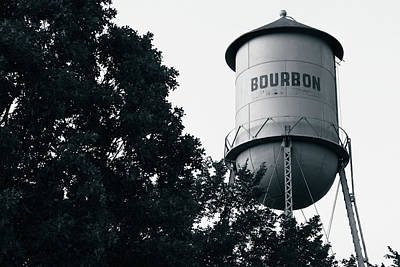 Photograph - Bourbon Water Tower Pub Art - Black And White Edition by Gregory Ballos