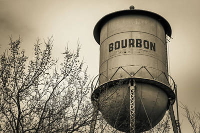 Photograph - Bourbon Water Tower - Sepia - Vintage Whiskey Art by Gregory Ballos