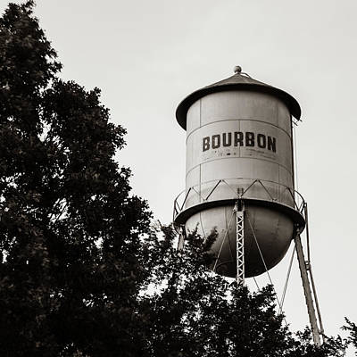 Photograph - Bourbon Whiskey Tower - Monochrome Vintage Art - Square Format by Gregory Ballos