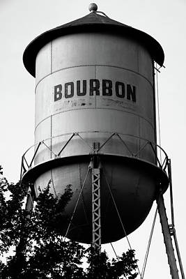 Photograph - Bourbon Whiskey Vintage Water Tower - Black And White Edition by Gregory Ballos