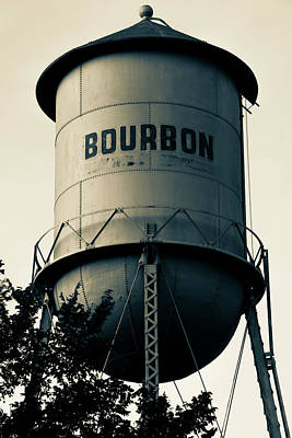 Photograph - Bourbon Whiskey Vintage Water Tower - Missouri - Sepia by Gregory Ballos