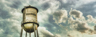 Photograph - Bourbon Whiskey Water Tower And Clouds Panorama by Gregory Ballos