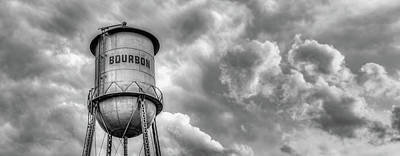 Photograph - Bourbon Whiskey Water Tower And Clouds Panorama - Monochrome by Gregory Ballos