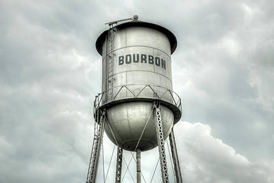 Photograph - Bourbon Whiskey Water Tower And Cloudy Skies  by Gregory Ballos