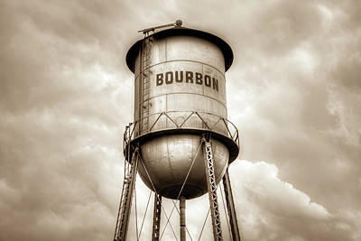 Photograph - Bourbon Whiskey Water Tower And Cloudy Skies - Sepia by Gregory Ballos