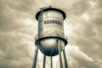 Photograph - Bourbon Whiskey Water Tower And Cloudy Skies - Vintage by Gregory Ballos