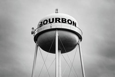 Photograph - Bourbon Whiskey Water Tower Art - Monochrome Edition by Gregory Ballos