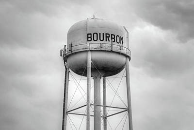 Photograph - Bourbon Whiskey Water Tower Art - Monochrome by Gregory Ballos