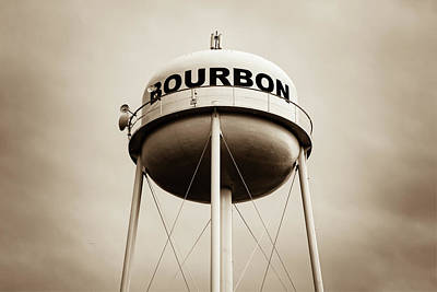 Photograph - Bourbon Whiskey Water Tower Art - Sepia Edition by Gregory Ballos