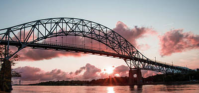 Bourne Bridge Photograph - Bourne Bridge Over The Cape Cod Canal At Sunset by Tran Boelsterli