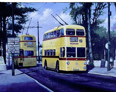 Painting - Bournemouth Trolley-bus. by Mike Jeffries