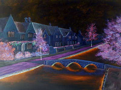 Mixed Media - Bourton At Night by Elizabeth Lock