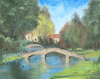 Impressionistic Landscape Painting - Bourton On The Water - England by Elaine Monnig