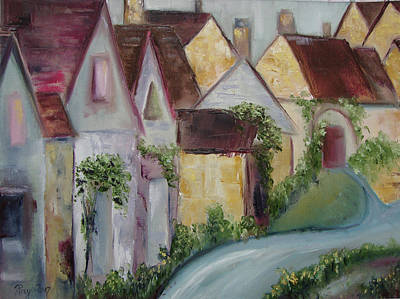 Landscape Painting - Bourton On The Water by Roxy Rich
