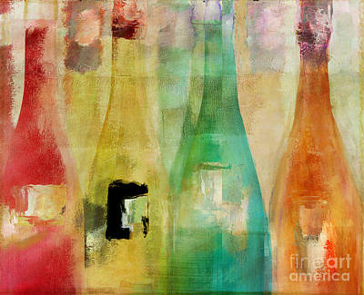 Bottle Painting - Bouteilles by Mindy Sommers