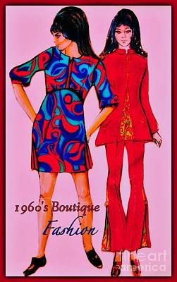 Mixed Media - Boutique Fashion 1966 by Joan-Violet Stretch
