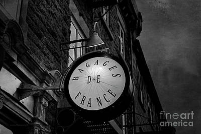 Photograph - Boutique Sign Black And White by Maria Angelica Maira