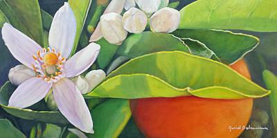 Painting - Boutons, Orange Et Fleur by Muriel Dolemieux
