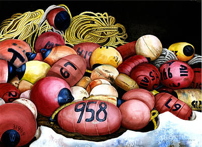 Fishing Bouys Painting - Bouyed Up by Ilene Paulsen