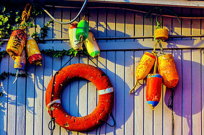 Photograph - Bouys And Life Ring by Garry Gay