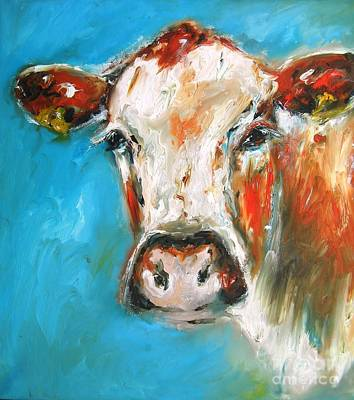 Steer Painting - wall art poster titled Mind your step -mister by Mary Cahalan Lee- aka PIXI