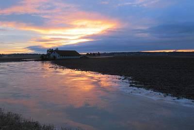 Photograph - Bow Barn And Frozen Pond In Sunset by Karen Molenaar Terrell