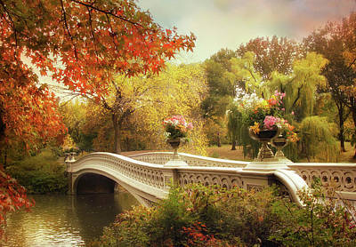 Flower Planter Photograph - Bow Bridge Crossing by Jessica Jenney