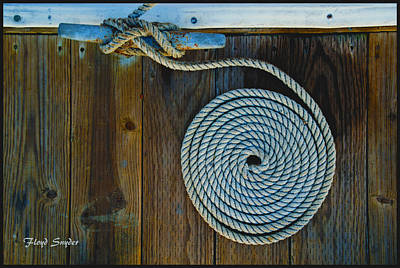 Tied Up Painting - Bow Cleat Tie Up At Morro Bay California by Floyd Snyder