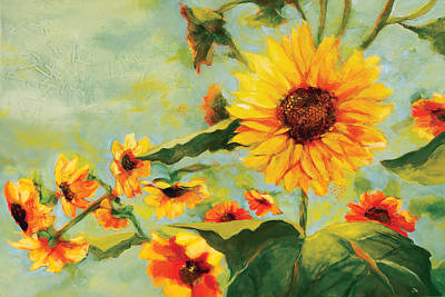 Sunflowers Royalty Free Images - Bow Down Royalty-Free Image by Jen Norton