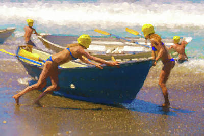 Row Boat Digital Art - Bow First Lifeboat Race Watercolor by Scott Campbell