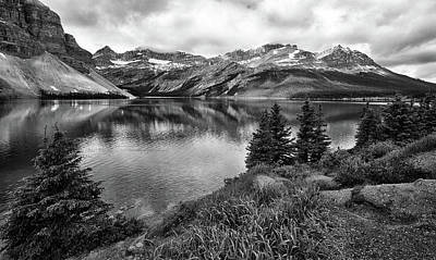 Photograph - Bow Lake Black And White by Art Cole