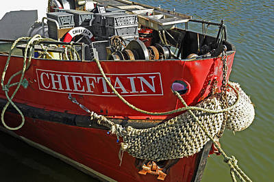Boats Photograph - Bow Of The Chieftain - Whitby Harbour by Rod Johnson