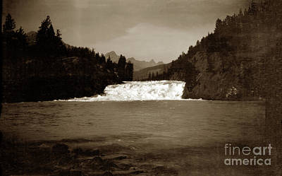 Photograph - Bow River Falls, Banff, Alberta, Canada August 1912 by California Views Mr Pat Hathaway Archives