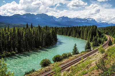 Panorama Photograph - Bow River Valley Banff National Park by Joan Carroll
