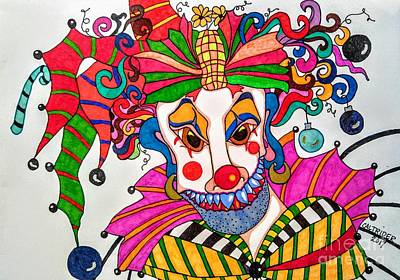 Drawing - Bow Bow The Christmas Clown by Alison Caltrider