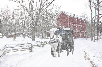Photograph - Bowen's Cider Mill During A Winter Snow Storm With Horse And Buggy by Randall Nyhof