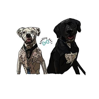 Cute Boxer Digital Art - Bowie And Nala by Doodling  Petz