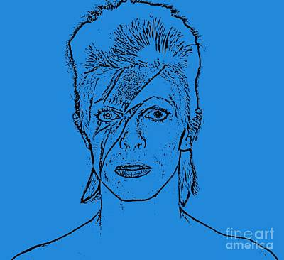 Musicians Drawings Rights Managed Images - Bowie Drawing Royalty-Free Image by John Malone