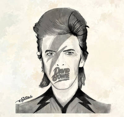 David Bowie Drawing - Bowie Grey by Michael Spatola