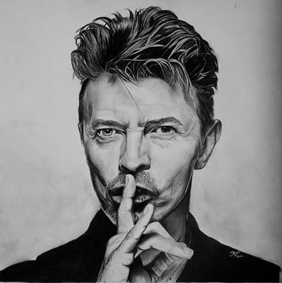 70s Drawing - Bowie  by Nicole Tonchella