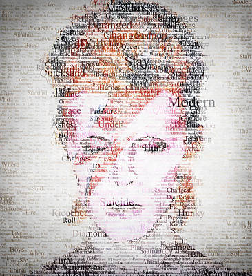 Cafe Art Digital Art - Bowie Typo by Taylan Apukovska
