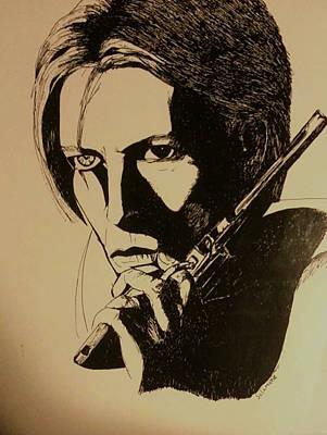 Drawing - Bowie's Got A Gun by Brenda Salamone