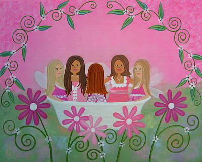 Fairy Painting - Bowl Full Of Fairies by Samantha Shirley