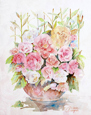Pink Flower Painting - Bowl Full Of Roses by Arline Wagner