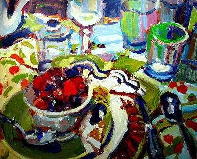 Fruit Painting - Bowl Of Cherries by Brian Simons
