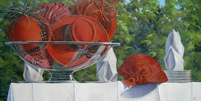 Red Hat Society Painting - Bowl Of Cherries by L Diane Johnson
