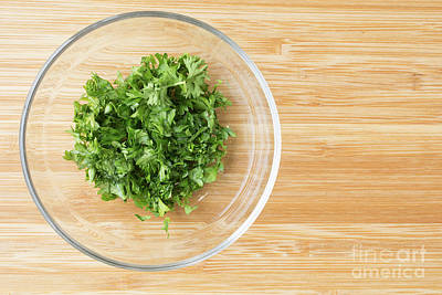 Photograph - Bowl Of Chopped Parsley by Edward Fielding